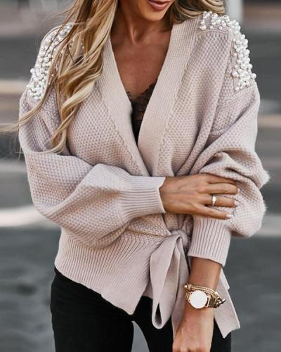 Wide-sleeved Knitted Cardigan With Tie