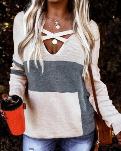 Plain Simple Cross Check V-Neck Knit Sweater