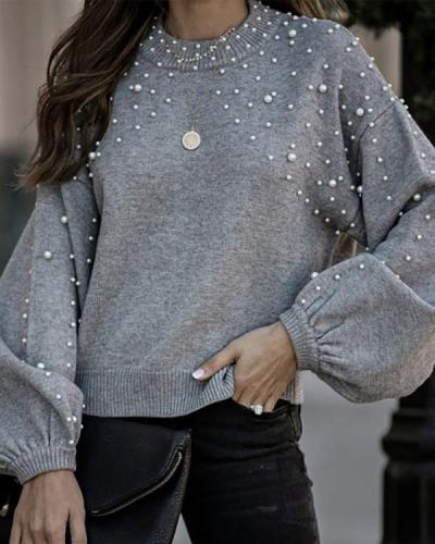 Nail Bead Casual Long Sleeve Pure Colour Sweater