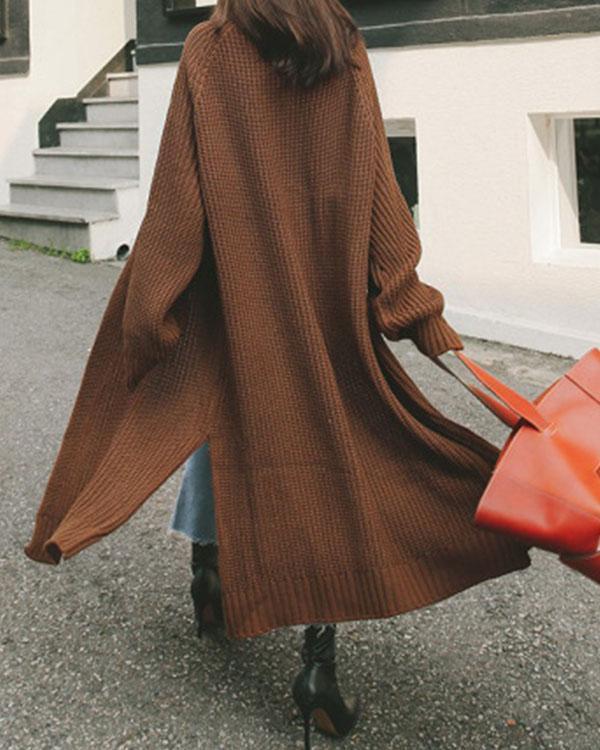 Winter Collarless Loose Fit Solid Cardigan Split Long Coat