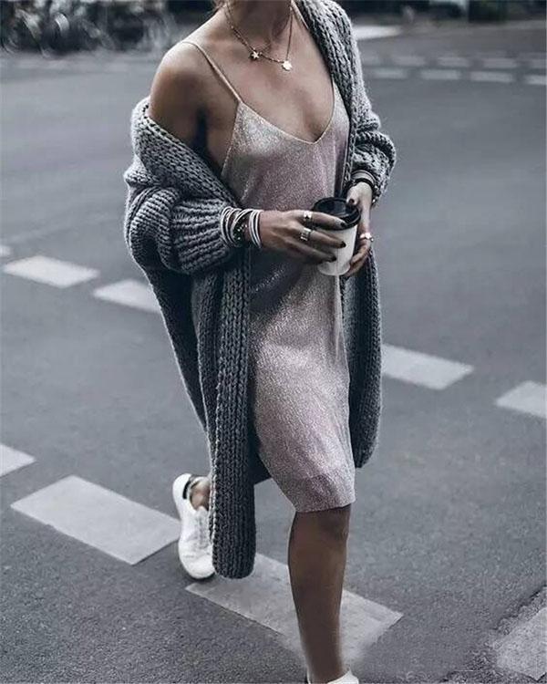 Winter Collarless Solid Grey Long Coat Fashion Knit Cardigan
