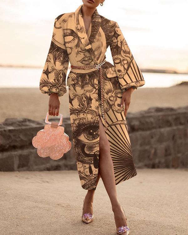 Women's Wool Blends Elegant Fashion printed Collar Coat
