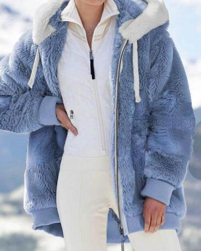 New Solid Angora Furry Coat