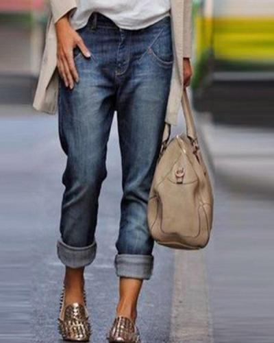 Casual Washed Denim Jeans Vintage Straight Pants