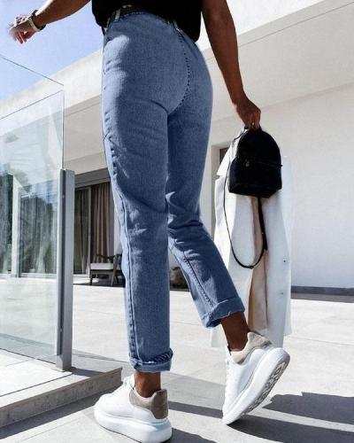 Casual All-match Denim Pencil Cropped Trousers
