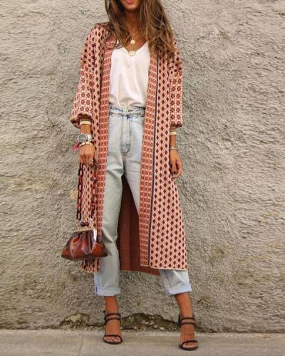Digital Print Long Sleeve Cardigan Coat