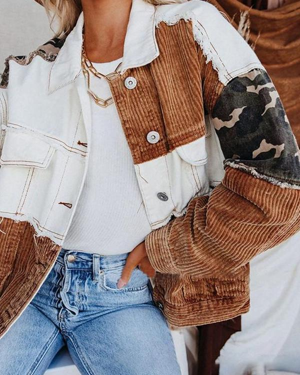 Color Block Long Sleeve Corduroy Jacket