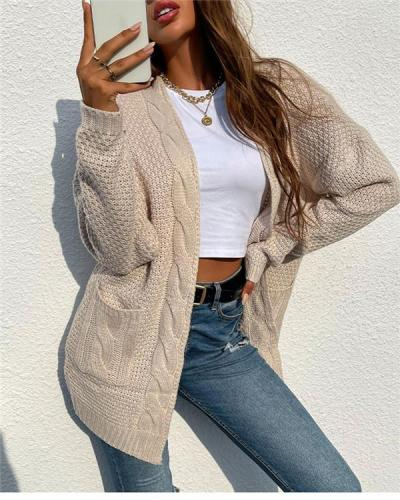Mid-length knitted cardigan jacket with twist pockets