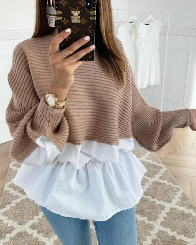 Fashion Sexy Pullover Round Neck Long Sleeves