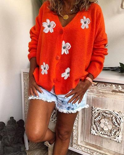 Loose Fit Embroidered V Neck Knitted Sweater