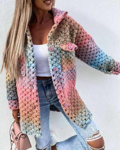Rainbow Color Woolen-Blend Braided Coat Winter Ombre Outerwear