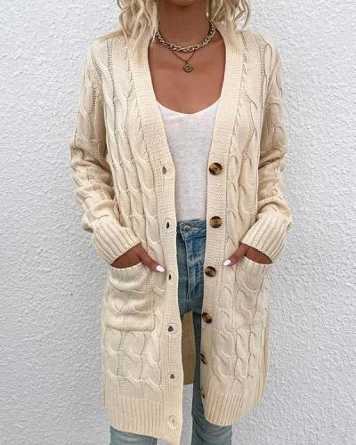 Solid Long Sleeve Knit Cardigan