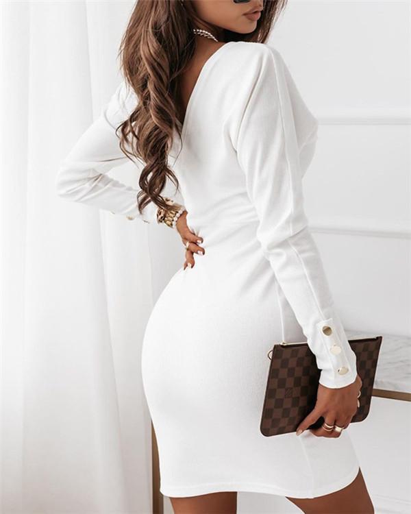 Slim new V-neck belt dress