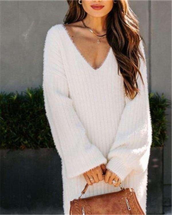 V-neck knitted pullover women's sweater dress