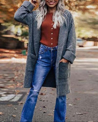 Mid-length Knitted Cardigan