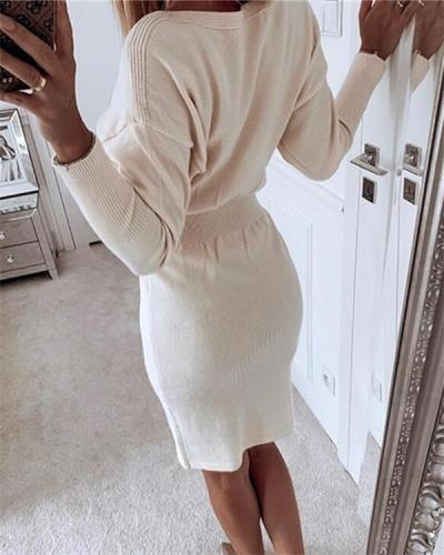 Round neck waist slimming, buttocks bottoming knitted solid color women's sweater