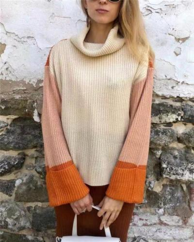 Three-color color matching turtleneck knitted sweater women