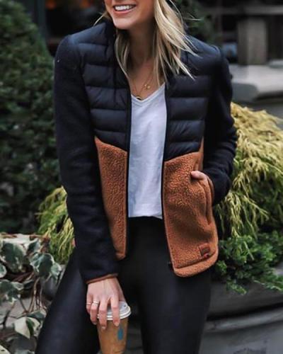 Fleece Patchwork Contrast Color Slim-Fit Cotton Jacket