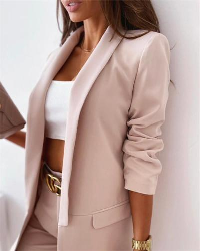 Pure color long-sleeved small suit ladies jacket