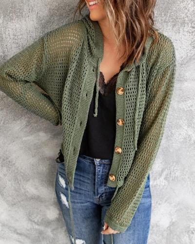 Solid Long Sleeve Knit Hooded Cardigan