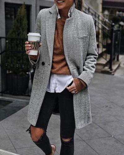 Vintage Button up Slim Winter Women's Mid Length Overcoat