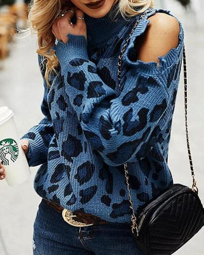 Leopard Print High Neck Long Sleeve Off-Shoulder Knitted Sweater