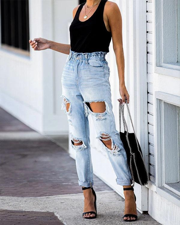 Ripped Washed Light Blue Denim Jeans
