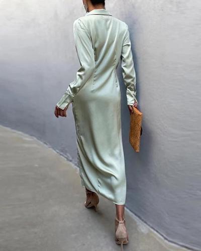 Verity Self-ties Satin Shirt Dress