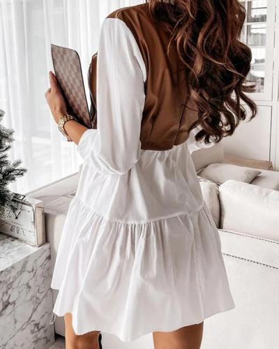 Harper Faux Leather Shirt Babydoll Dress