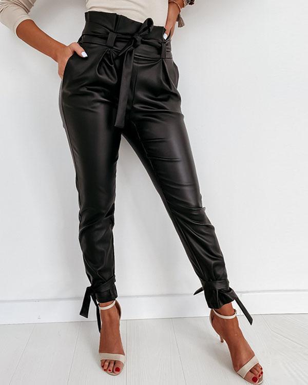 Women Casual PU Long Leather Pencil Pants