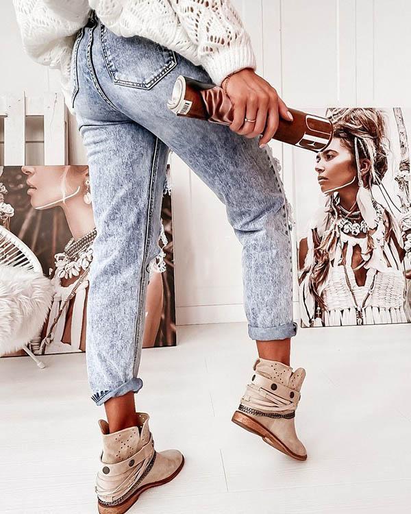 Blue Washed Denim Hole High Waist Ripped Jeans