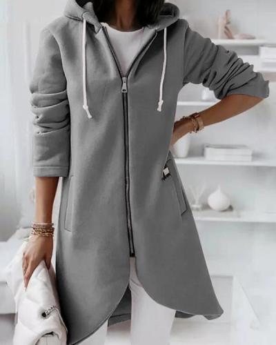 Hooded Zipper Fleece Sweatshirt