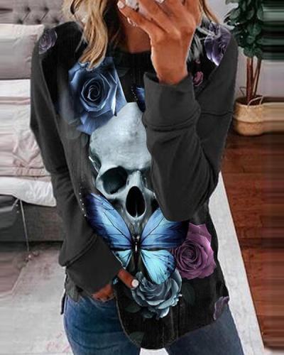 Halloween Long Sleeve O-Neck Pullover Sweatshirt