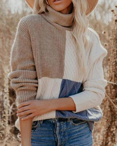 Turtleneck Color Block Casual Long Sleeve Pullover