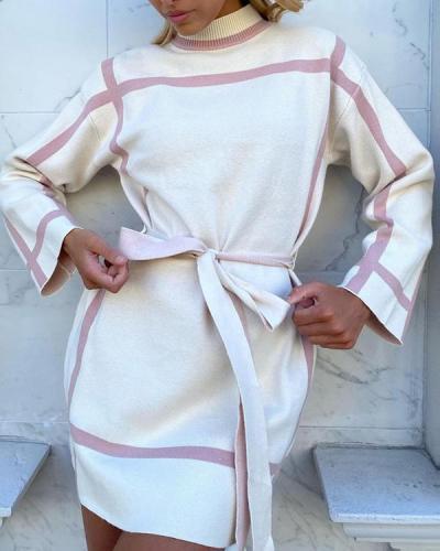 Fashion Elegant Striped With Belt Contrast Mandarin Collar Dresses