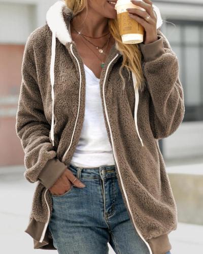 Loose Plush Zipper Hooded Jacket