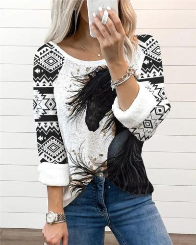 Printed Loose Ethnic Casual All-match Blouse