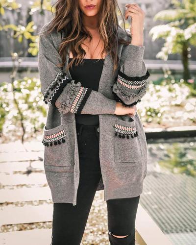 Pockets Tassel Fashion Cardigan Sweater