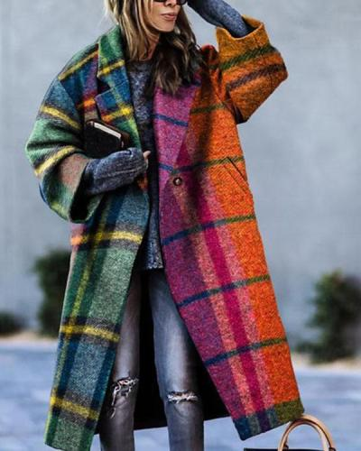 Long-sleeved Lapel Print Calf-length Loose Fit Overcoat with Pockets