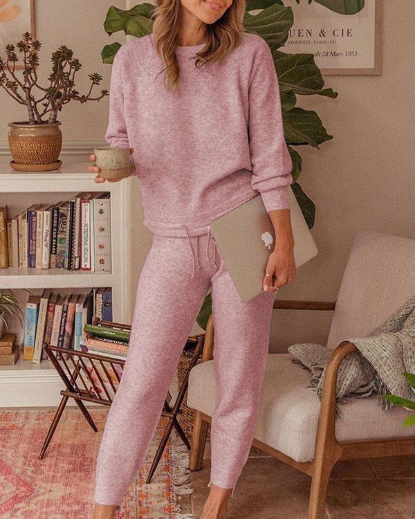 Solid Color Drawstring Casual Sweatshirt & Pants Set