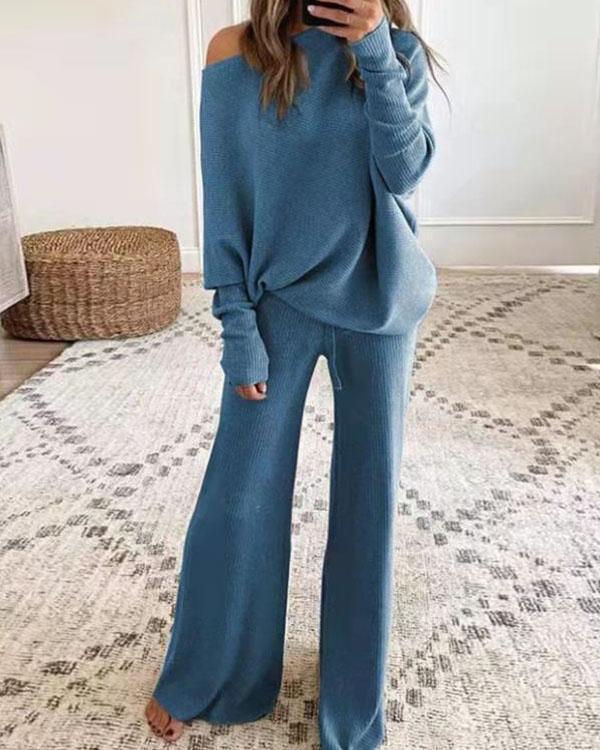 Plain Color Oblique Shoulder Knitted Top & Pants 2pc Set with Drawstring