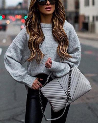 Base Round Neck Stretch Women's Sweater Coat