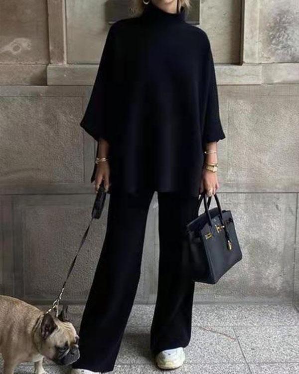 Casual Plain Color High Collar Top & Pants 2pc Set