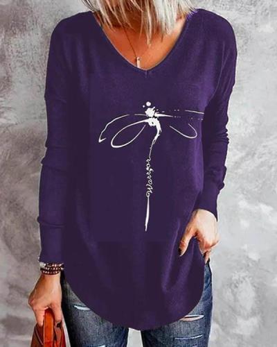 V Neck Irregular Dragonfly Print Long Sleeve Fall Shirt & Top