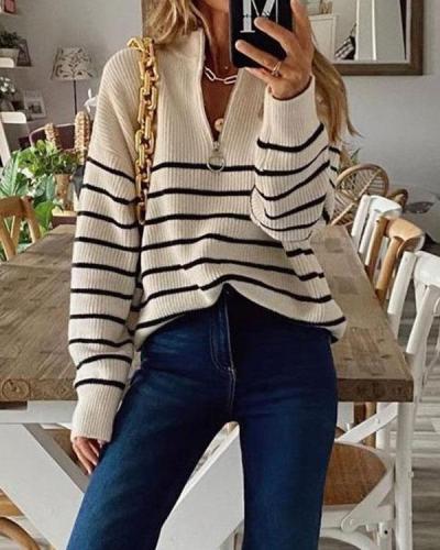 Stand Collar Stripe Long Sleeves Zipper Sweater