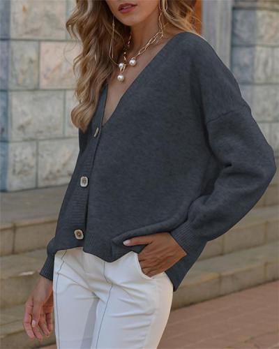 Cardigan V-neck Loose Long Sleeve Sweater