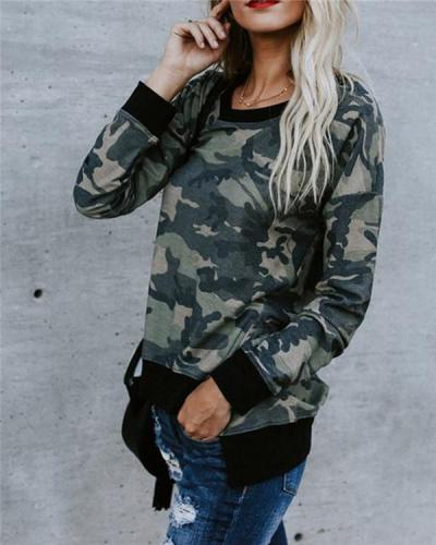 Camouflage Sweater Pull Frame Top