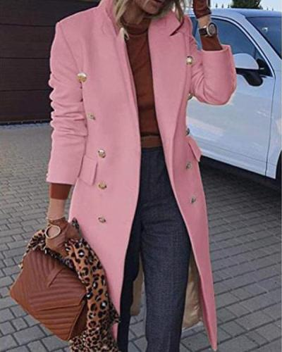 Double Breasted Lapel Pure Color Overcoat