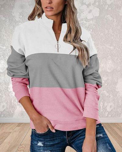 Print Color Block V-Neck Long Sleeves Sweatshirt