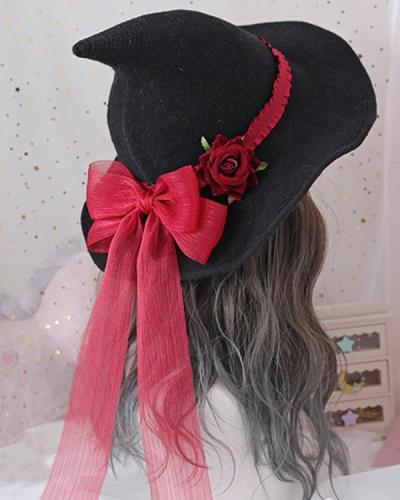 Halloween Witch Hat with Rose Flower Bow